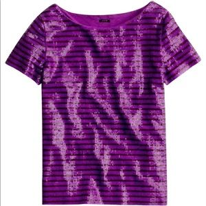 J. Crew Sequin Tee In Purple Sailor Stripe Small